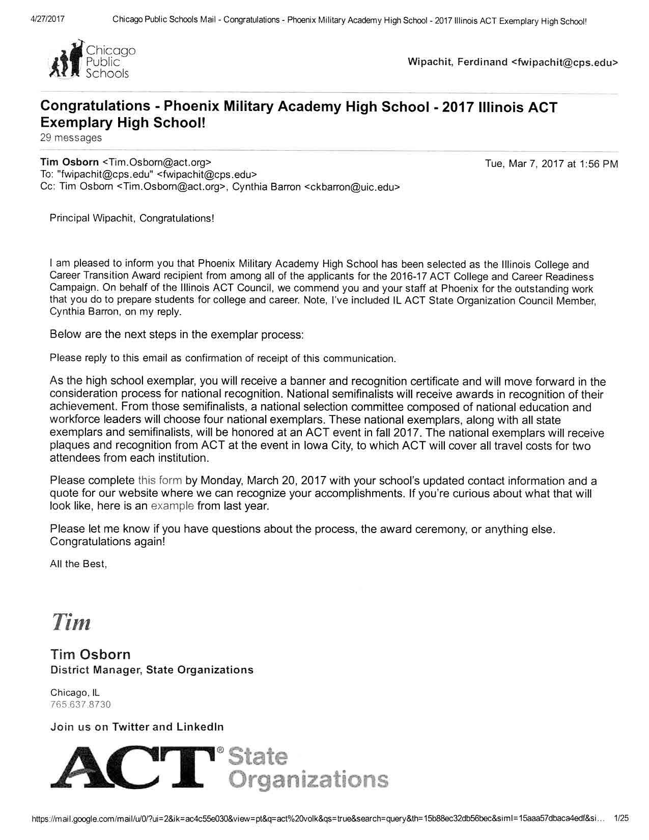 2017 Illinois ACT Exemplary High School